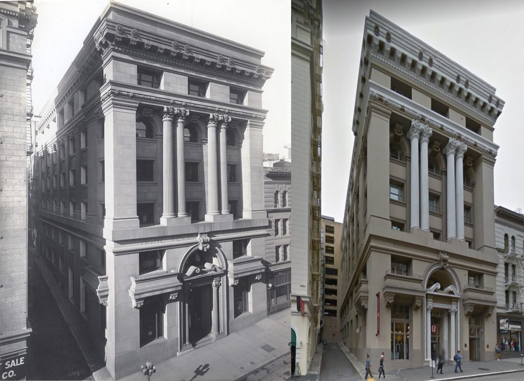 """333 Grant Ave. San Francisco - showing the """"1912"""" photo on the left and the 2014 photo on the right."""